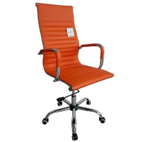 eames ribbed chair tan office. eames style high back ribbed executive computer office chair orange tan 7